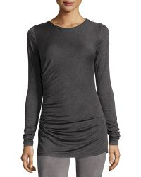Max Studio   Long-sleeve Jersey Top W/ruched Sides   Lyst