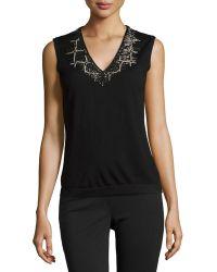 Carolina Herrera Embellished V-Neck Wool-Blend Top - Lyst