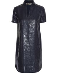 Halston Heritage Sequined Voile Mini Dress - Lyst