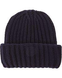 Sandro Ribbed Wool Beanie Hat - Blue