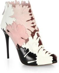 Alexander McQueen Suede & Leather Flower-Paneled Cutout Booties floral - Lyst
