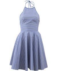 Michael Kors Striped Poplin Halter Dress blue - Lyst