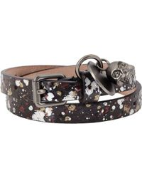 Alexander McQueen Leather Wrap Bracelet With Skull Charm - Lyst