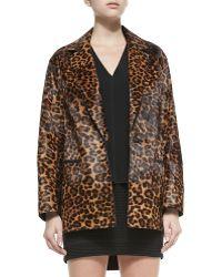 Rag & Bone Sigrid Leopard-Print Calf Fur Coat - Lyst