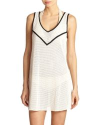 Shoshanna Natural Crochet Trapeze Beach Dress white - Lyst