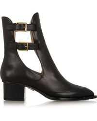 Maiyet Cutout Buckled Leather Ankle Boots - Lyst