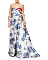 Carolina Herrera Strapless Mum-Print Ball Gown - Lyst