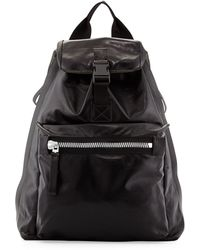 Lanvin Leather Backpack with Glitter Panel Mixed Grey - Black