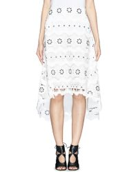 Chloé Galloon Trim Guipure Lace Cascade Skirt - Lyst