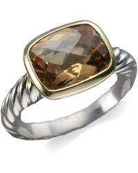 David Yurman - Smoky Citrine Sterling Silver 18k Yellow Gold Ring - Lyst