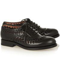 Alaïa Cutout Leather Brogues - Black