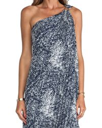 Halston Heritage One Shoulder Printed Gown - Lyst