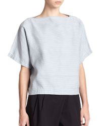 Marc By Marc Jacobs Indigo Striped Cotton & Linen Top - Lyst