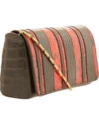 Dries Van Noten - Red and Black Snakeeffect Leather Bag - Lyst