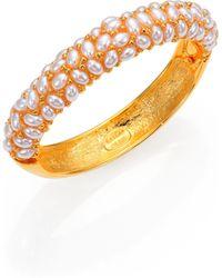 Kenneth Jay Lane Faux Pearl Cluster Bangle Bracelet - Lyst