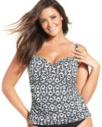 La Blanca Plus Size Ikatprint Ruched Tankini Top - Lyst