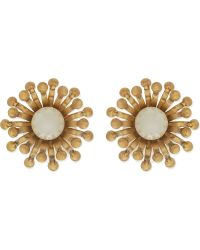 Tory Burch Pearl Floral Stud Earrings Ivoryaged Gold - Lyst
