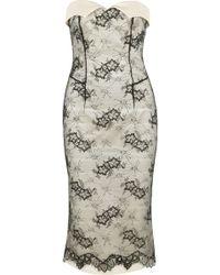 L'Wren Scott Sateen Twill and Lace Dress - White