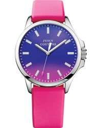 Juicy Couture Womens Jetsetter Hot Pink Silicone Strap Watch 38mm - Lyst