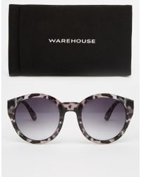 Warehouse - Marbled Round Sunglasses - Lyst