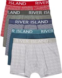 River Island Mixed Patterned Trunks - Blue