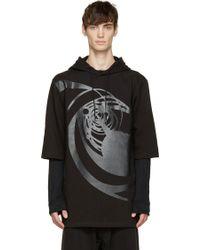 D By D Black Printed Short Sleeve Hoodie - Lyst