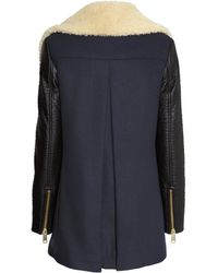 H&M Coat With A Pile Collar - Blue