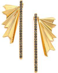 Giles & Brother Ray Burst Pave Crystal Ear Jacket & Drop Earrings Set - Metallic