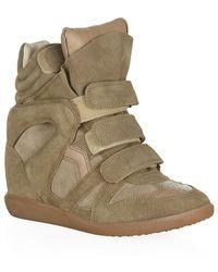 Isabel Marant Bekett Suede Wedge Sneaker brown - Lyst