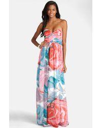 Donna Morgan Laura Printed Silk-Chiffon Gown - Lyst