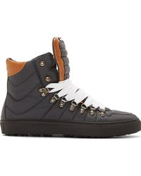 DSquared2 Black Textile and Brown Suede High Top Sneakers - Lyst