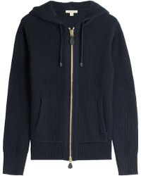 Burberry Brit - Wool-cashmere Zipped Hoody - Blue - Lyst