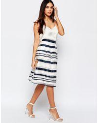 Warehouse Organza Stripe Skirt - Multi - Blue