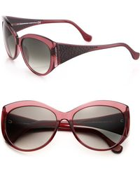 Balenciaga Textured Arms 58Mm Round Sunglasses purple - Lyst
