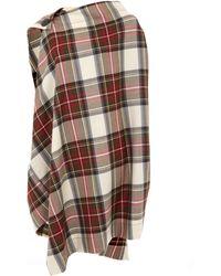 Vivienne Westwood Anglomania - Cream Lyon Button Shoulder Drape Tartan Cape - Lyst