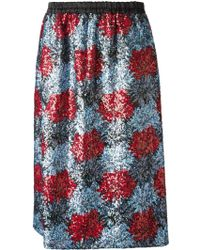 No 21 Sequins Embroidered Flowers Skirt - Lyst
