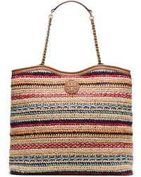 Tory Burch Marion Woven Slouchy Tote Bag - Lyst