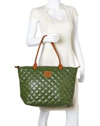 It's The Girl By Junior Drake - Grass Quilted Nylon Tote - Lyst