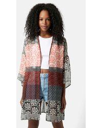 Topshop Patchwork Tile Print Kimono - Lyst