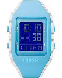 Reebok Women'S Digital Workout Zig Blue & White Silicone Strap Watch 41Mm Rf-Wz1-G9-Pkik-Wb