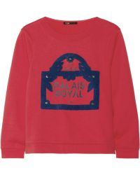 Maje Guillaume Embellished Cotton French Terry Sweatshirt - Lyst