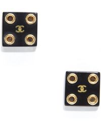 Chanel Preowned Black Square Gold Cc Clip On Earrings - Lyst