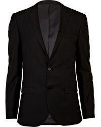 River Island - Black Slim Suit Trousers - Lyst