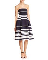 Nicholas Strapless Positano-Stripe Dress - Lyst