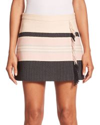 BCBGMAXAZRIA Mallika Striped Fringe-Detail Mini Skirt brown - Lyst