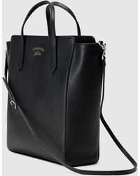 Gucci Swing Leather Top Handle Bag - Black