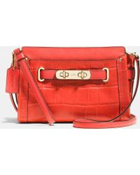 Coach Swagger Wristlet In Croc Embossed Leather - Lyst