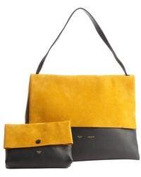 Celine Goldenrod Suede and Navy Leather All Soft Shoulder Bag - Lyst