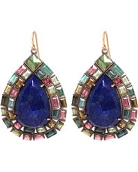 Nak Armstrong - Green And Pink Tourmaline And Lapis Drop Earrings - Lyst
