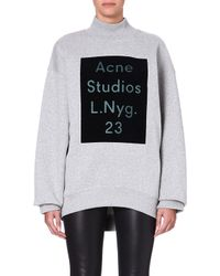 Acne Studios Branded Highneck Sweatshirt Grey - Lyst
